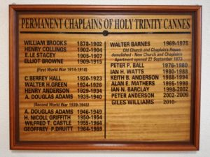 Board showing permanent chplains of Holy Trinity from 1878